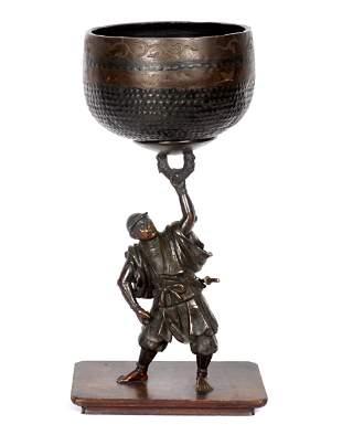 Miyao Style Japanese Bronze Samurai With Gong