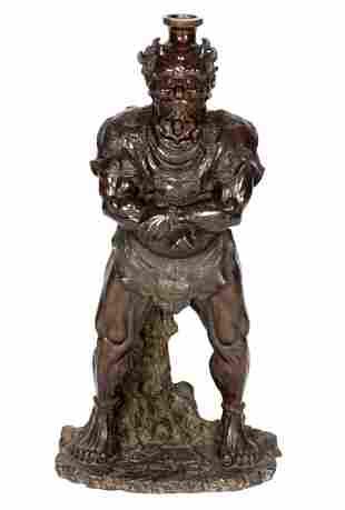 Large Meiji Japanese Bronze Oni Demon Figure