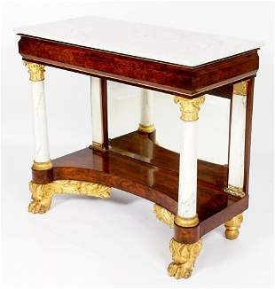 1840's American Marble Top & Columns Pier Table