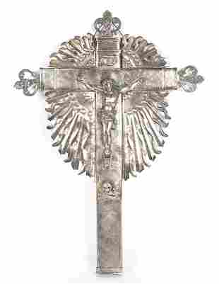Spanish Colonial Silver Memento Mori Crucifix