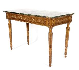 18th C. Italian Carved Marble Top Console Table