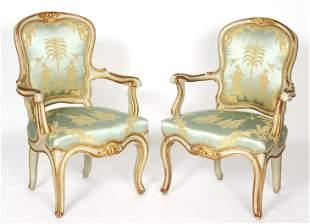 Pair 18th / 19th Century Venetian Arm Chairs