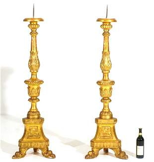 Pair Italian Carved Gilt Wood Prickets