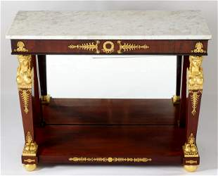 French Empire Ormolu Marble Top Console Table
