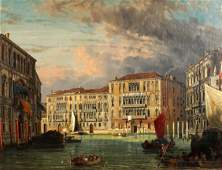 Friedrich Nerly the Elder Venetian Canal Painting