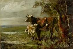 attrib. Charles Rain In Green Pasture Painting