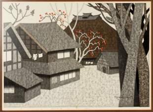 Kiyoshi Saito Persimmon in Aizu Woodblock Print