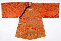 Chinese Orange Silk Embroidered Robe