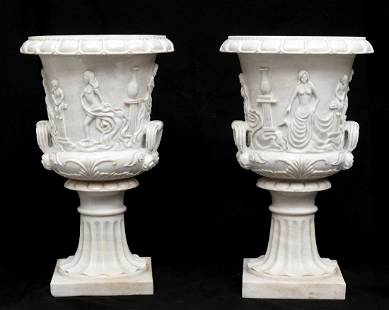 Pair Large Carved Marble Garden Urns