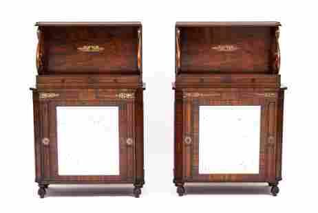 Pair English Rosewood Mirrored Chiffoniers