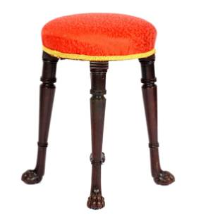 Irish Upholstered Stool with Paw Feet