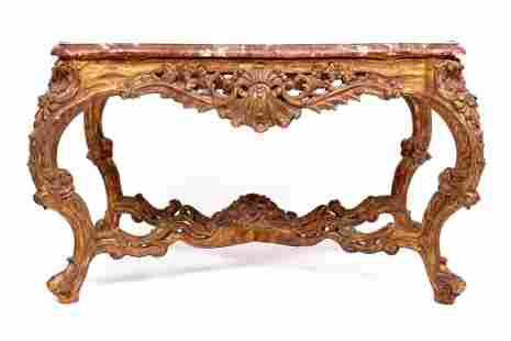 Large Louis XV Gilt Wood Marble Top Center Table