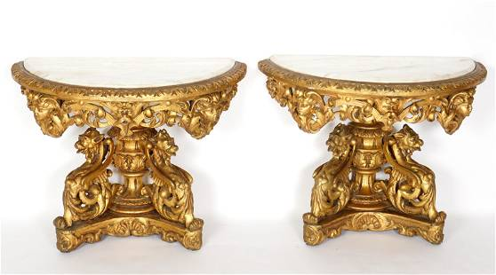 Pair Italian Carved Gilt Wood Demilune Console Tables