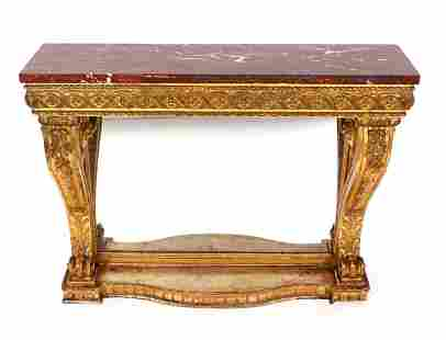 19th C Italian Carved Gilt Wood Marble Top Console