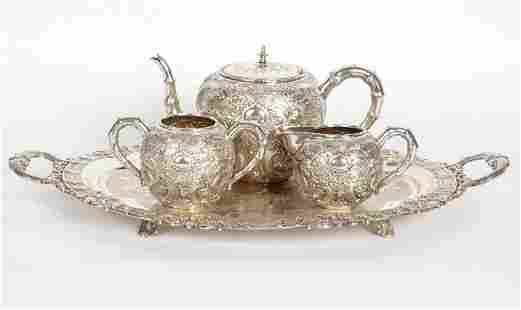 4 Piece Luen-Wo Chinese Export Silver Tea Service