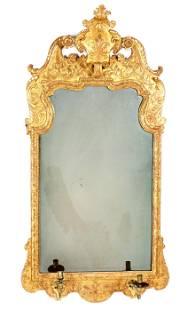 Queen Anne Girandole English Gilt Wood Mirror