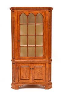 D.R. Dimes Tiger Maple Corner Cupboard