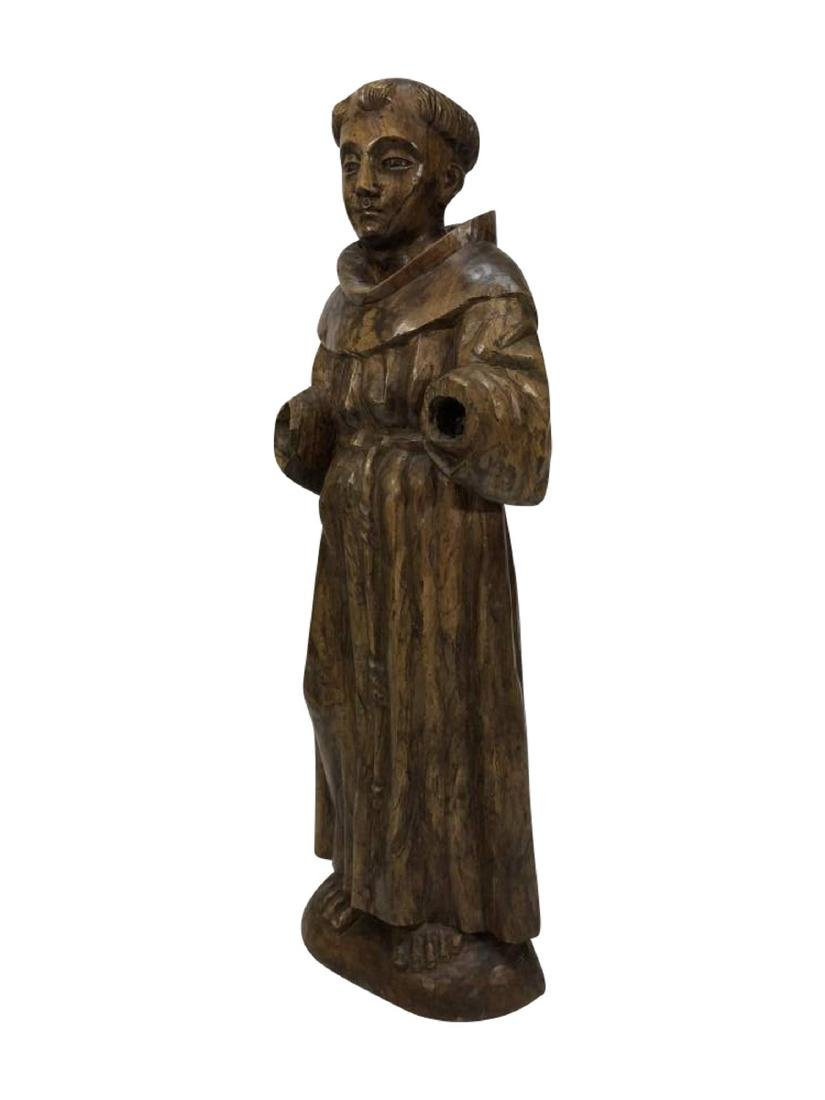 Carved Santos Statue of a Hooded Monk, Spanish Colonial