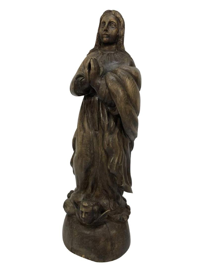 Carved Santos Statue of the Praying Virgin Mary
