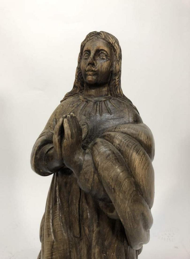 Carved Santos Statue of the Praying Virgin Mary - 2