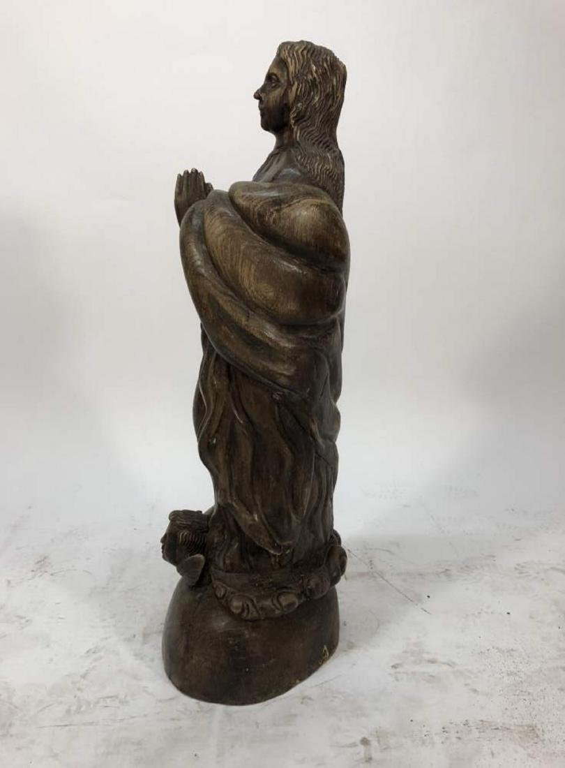 Carved Santos Statue of the Praying Virgin Mary - 5