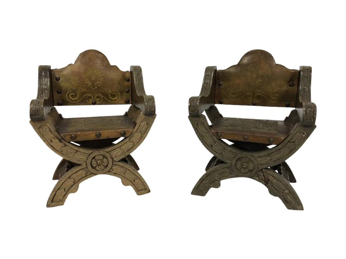 Pair of Tooled and Embossed Miniature Arm Chairs