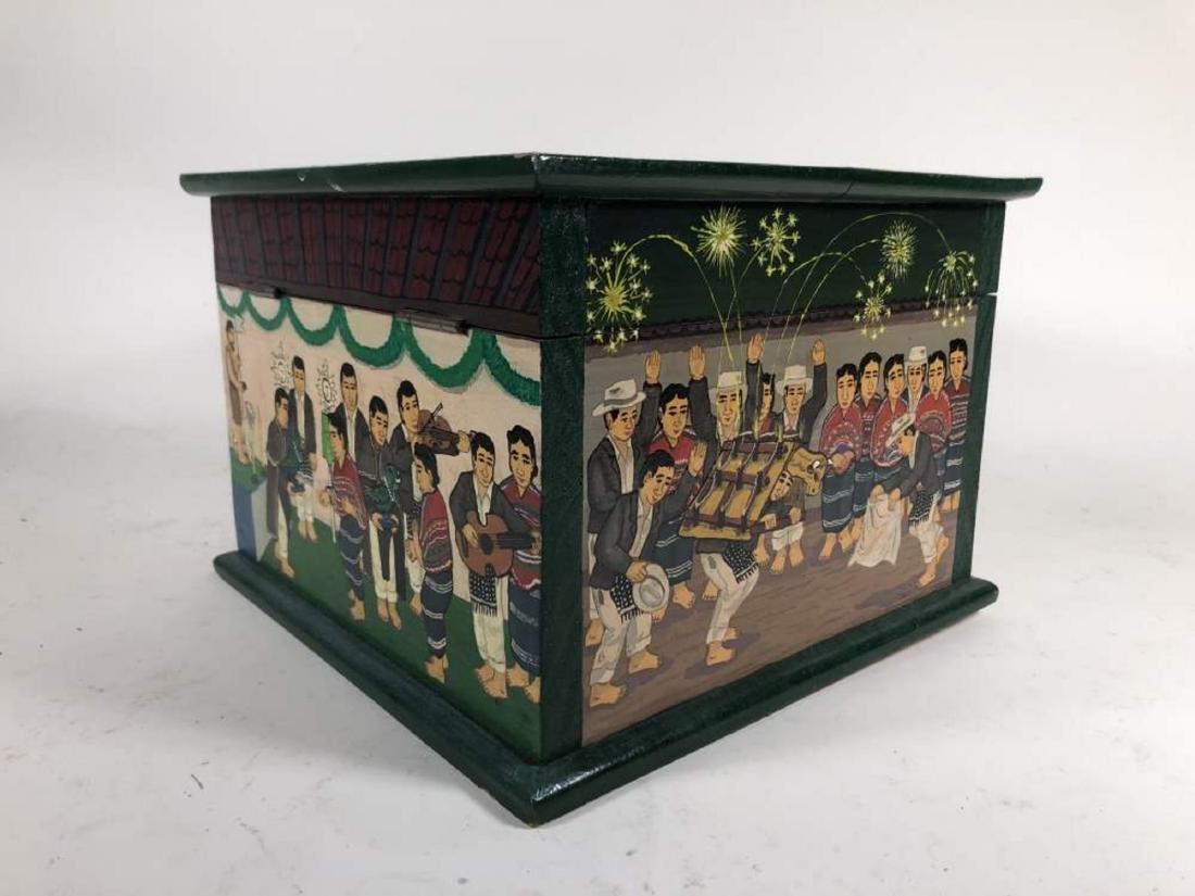 Pair of Painted Comalapa Festive Boxes, Guatemala - 9