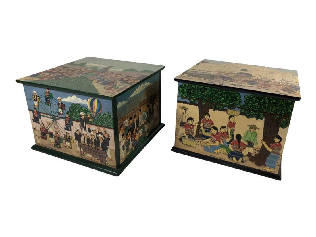 Pair of Painted Comalapa Festive Boxes, Guatemala