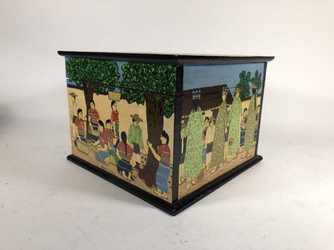 Pair of Painted Comalapa Festive Boxes, Guatemala - 3