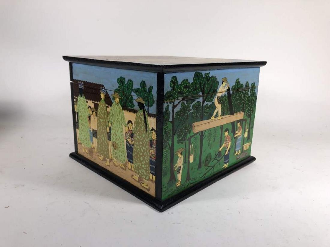 Pair of Painted Comalapa Festive Boxes, Guatemala - 4