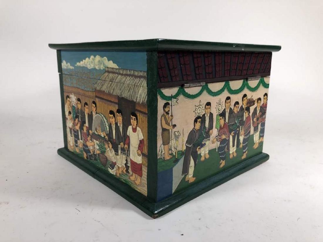 Pair of Painted Comalapa Festive Boxes, Guatemala - 8