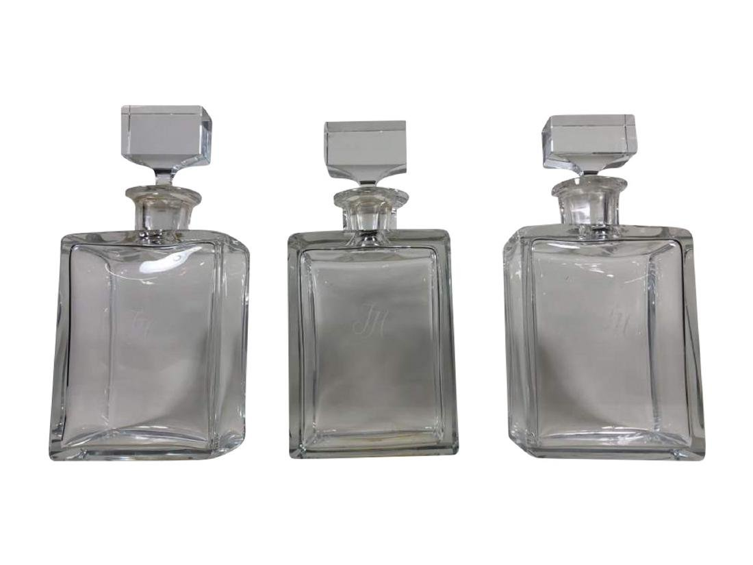Set of Three Moser Crystal Decanters