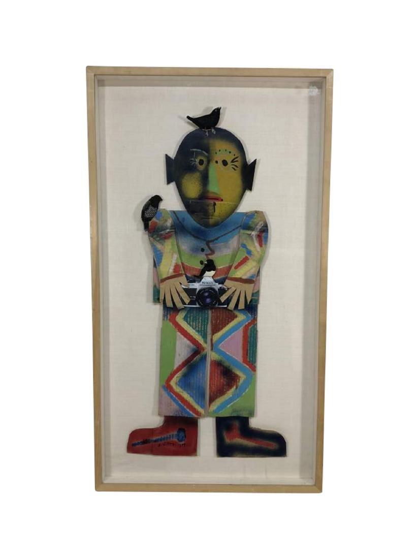 Framed Figure, Spray Paint on Cardboard 1988
