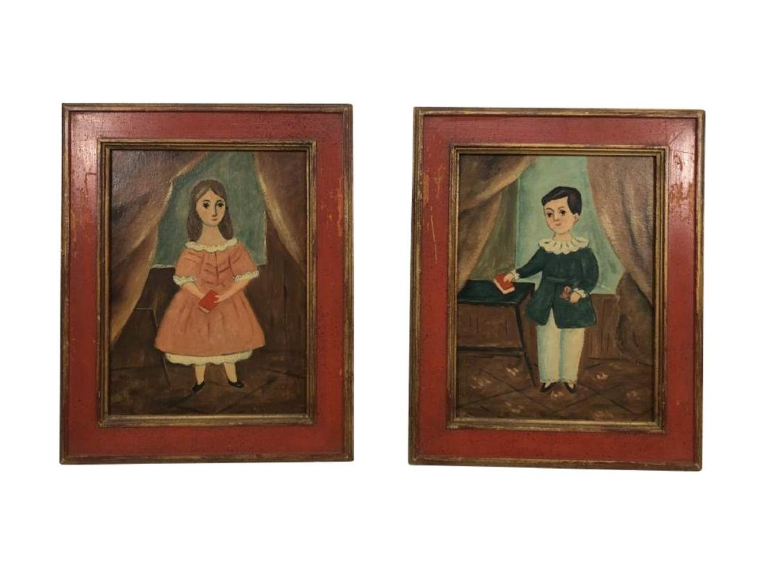 Matching Paintings of Two Children, 19th c.