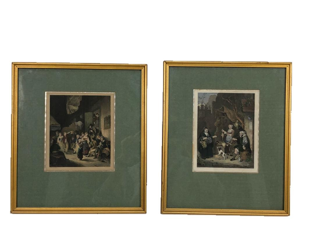 Pair of Hand Colored Old Master Engravings, 18th C.