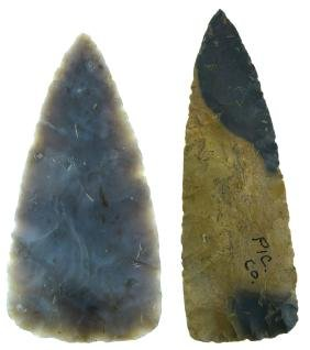 "2 Triangular Blades.  Ohio.  4 7/8"" Flintridge and 5"