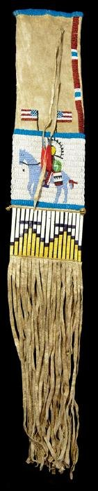 """33"""" (overall) Sioux Beaded Pipebag.  Early 1900's"""
