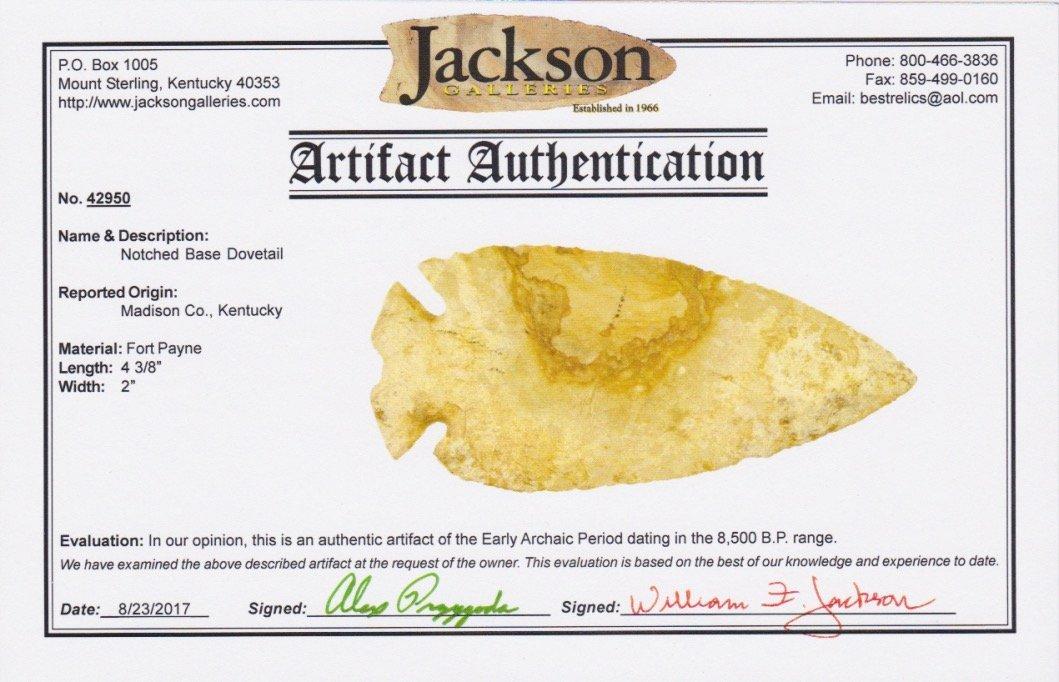"""4 3/8"""" Notched Base Dovetail.  Madison Co, KY.  Jackson - 3"""