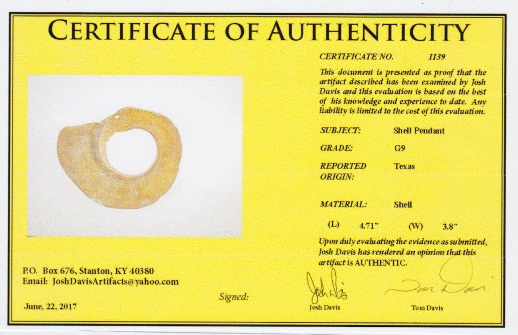 """Rare 4 11/16"""" Shell Pendant.  TX.  Davis G9 COA. - 3"""
