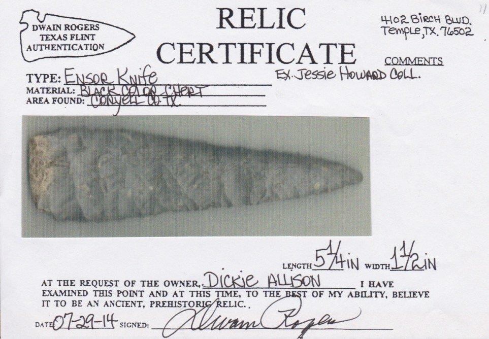 """5 1/4"""" Ensor Knife.   Rogers COA.  Coryell Co, TX. - 3"""