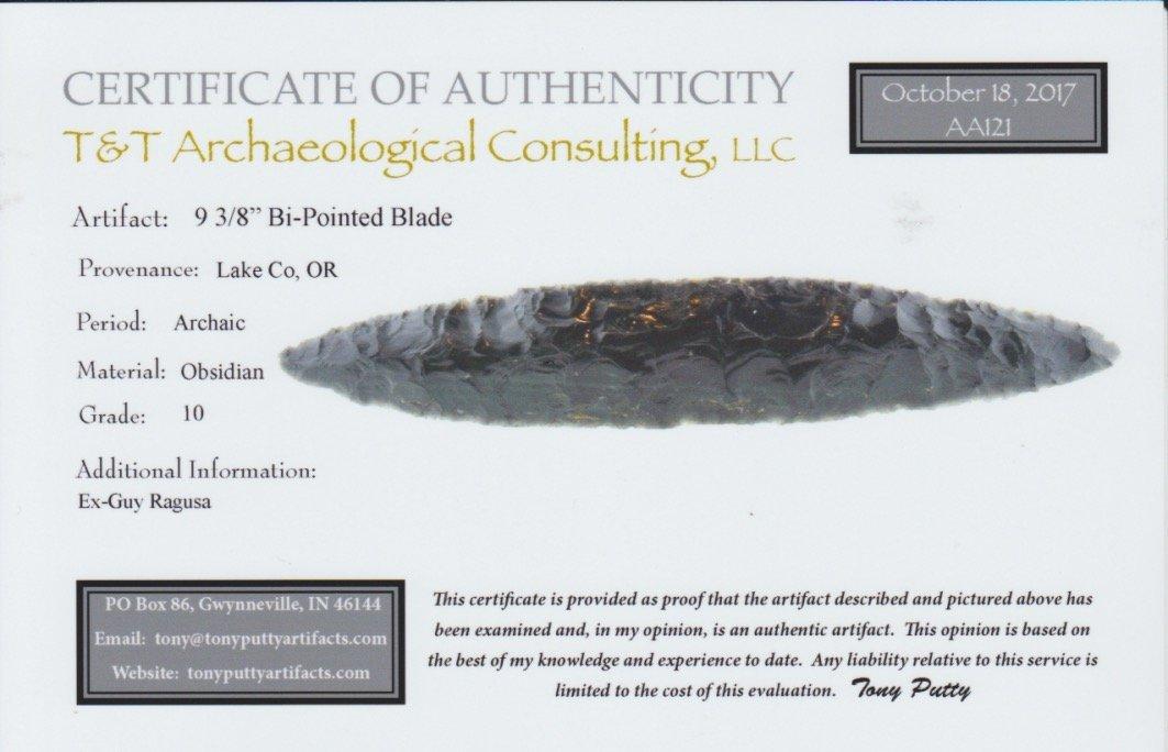 "9 3/8"" Bi-Pointed Obsidian Blade.  Lake Co, OR.  Ex-Guy - 3"