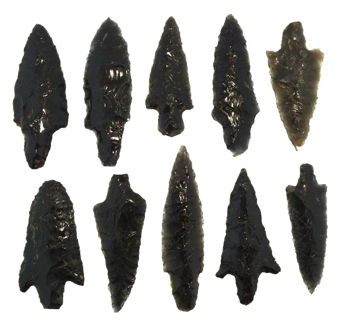 """Group of 10 Parman Points from Lake Co, OR (2 1/2""""-3"""