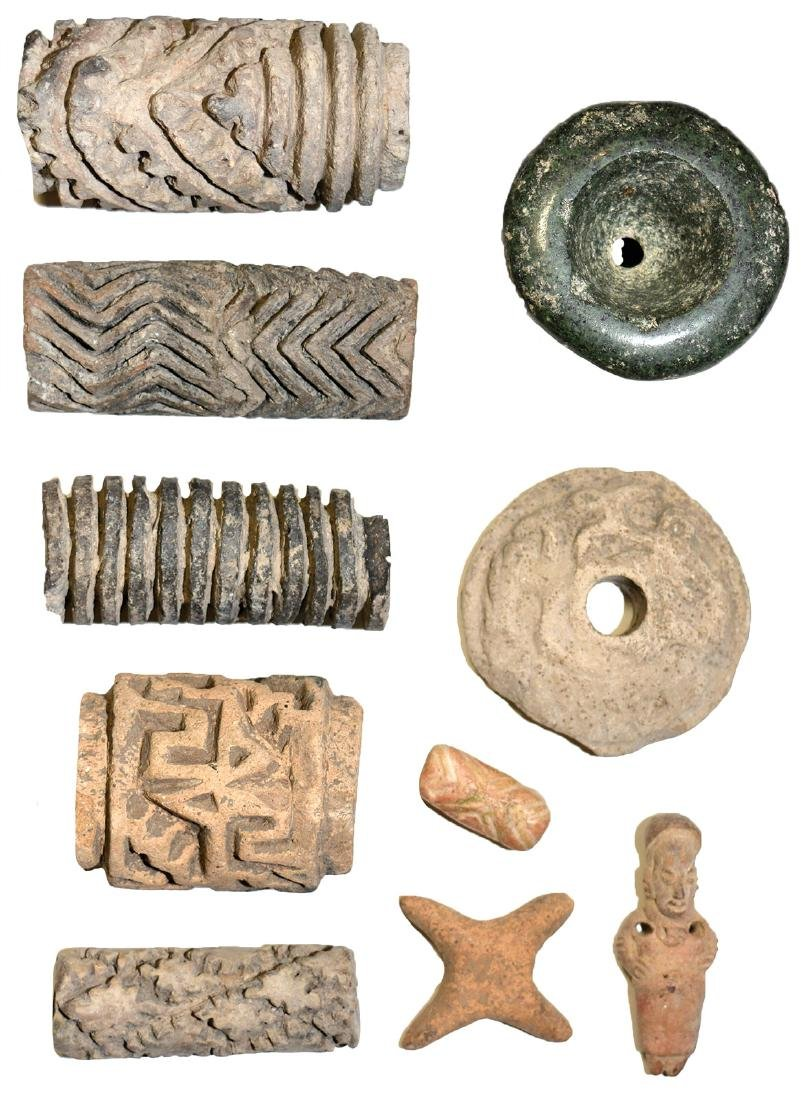 """10 Pre-Columbian Artifacts (1""""-3"""").  Includes  drilled"""