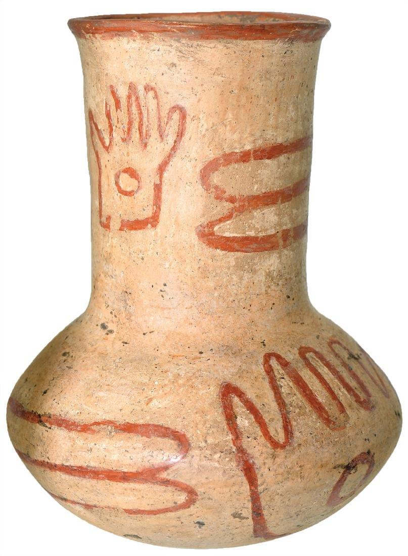 "7 1/8"" H. Quapaw Bottle.  Lee Co, AR.  Hands and bones"