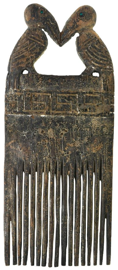 """6 5/8"""" Wooden Comb.  Peru.  Very old Chimu example"""