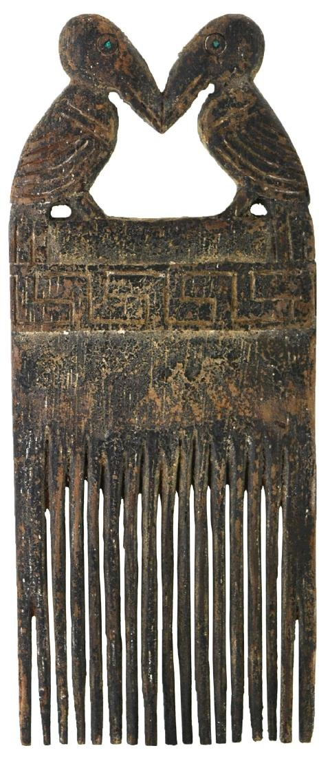 """6 5/8"""" Wooden Comb.  Peru.  Very old Chimu example - 2"""