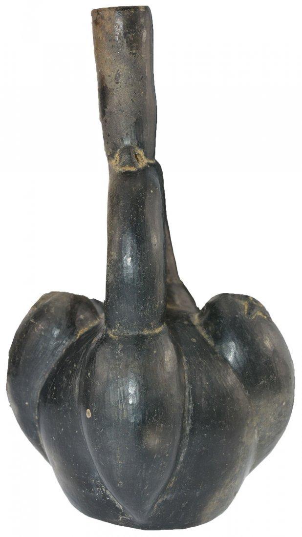 """9 3/4"""" Blackware Stirrup Vessel.  Peru.  Chimu (circa - 3"""