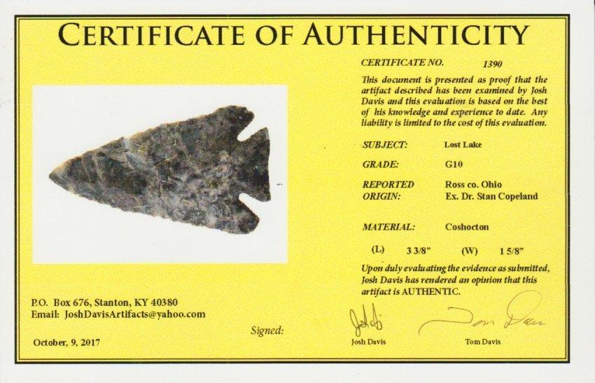 "3 3/8"" Archaic Bevel (Lost Lake).  Davis G10 COA.   Ex- - 3"