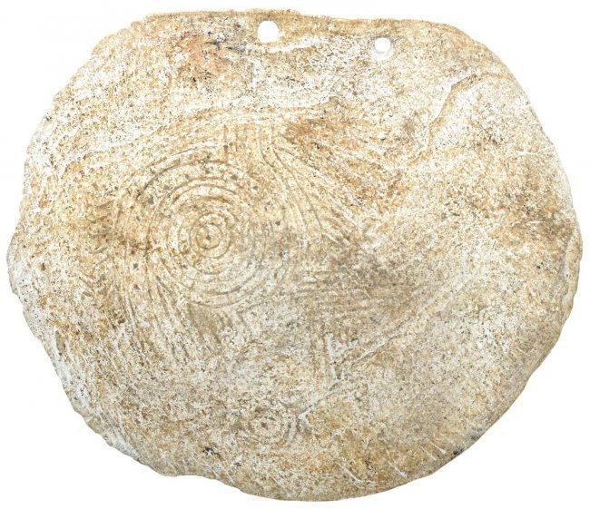 "5 1/8"" Rattlesnake Shell Gorget.  GA.  Weathered, but"