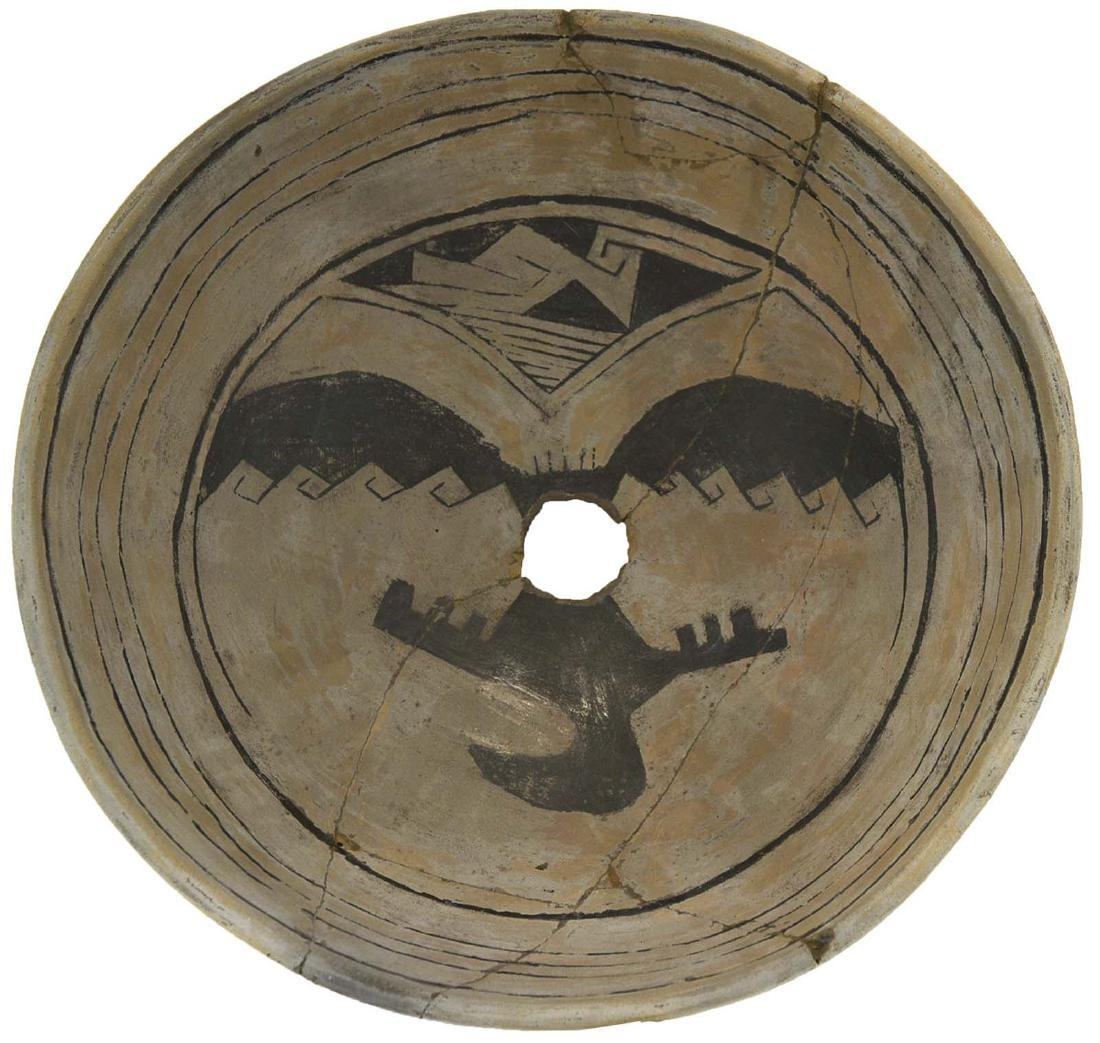 """12"""" Diameter Mimbres Bowl.  Glued with some paint"""